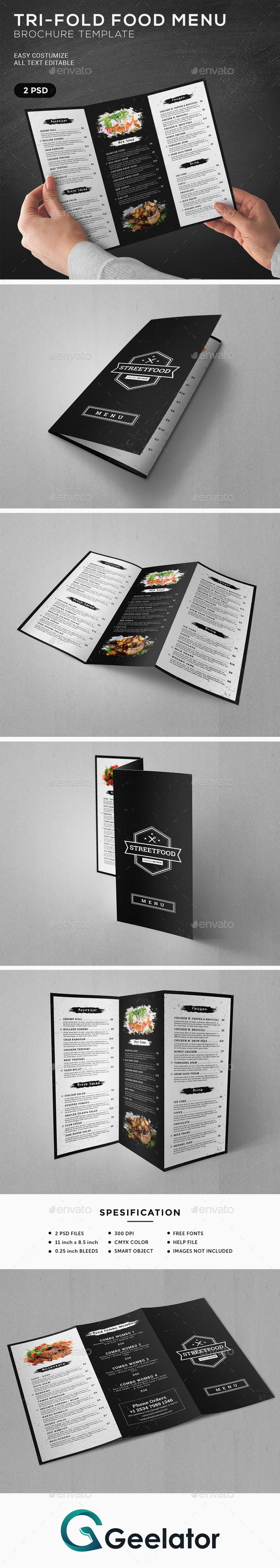 TriFold Food Menu Brochure Template - Food Menus Print Templates