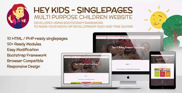 Hey Kids Responsive Multipurpose Singlepage Web Template - Children Retail