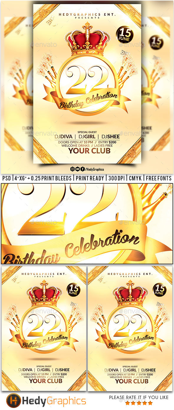 Birthday Celebration Flyer - Clubs & Parties Events
