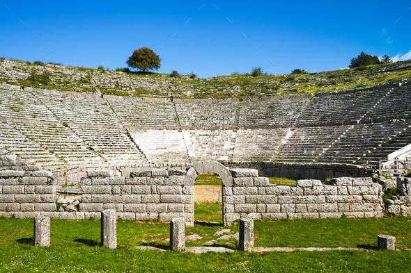 Dodoni ancient theater, Ioannina, Greece - Stock Photo - Images