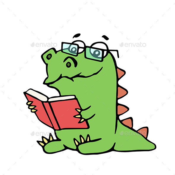 Dragon Sits and Reads a Book - Monsters Characters