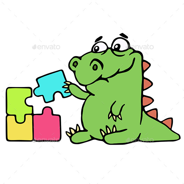 Cartoon Dinosaur Assemble the Puzzles - Concepts Business