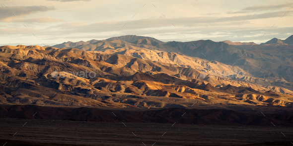 Death Valley Badlands Panoramic View Sunset - Stock Photo - Images