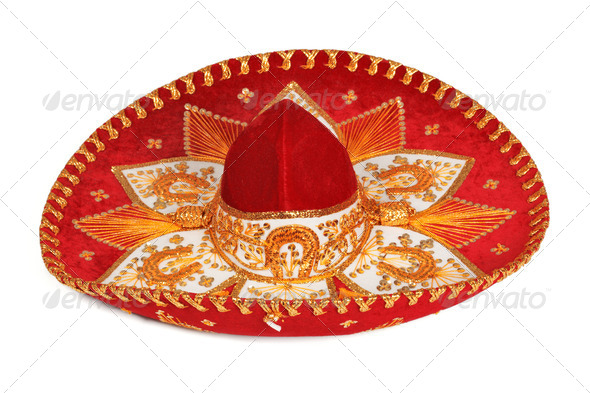 Red sombrero isolated - Stock Photo - Images