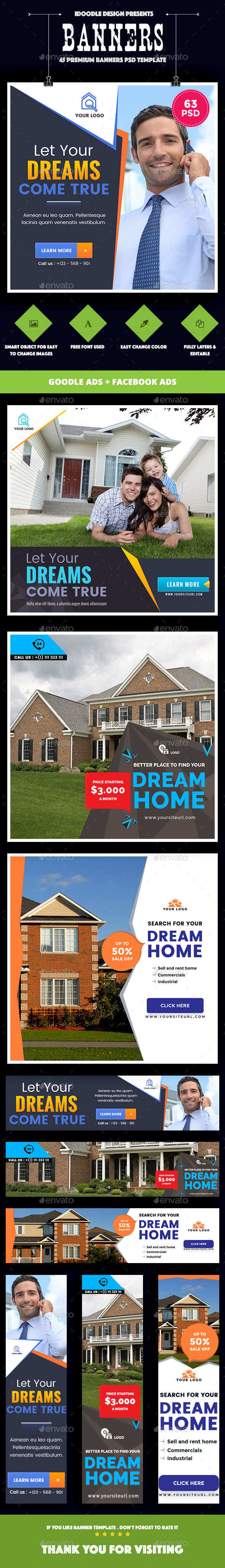 Bundle Real Estate Banners Ad - 04 Sets - Banners & Ads Web Elements