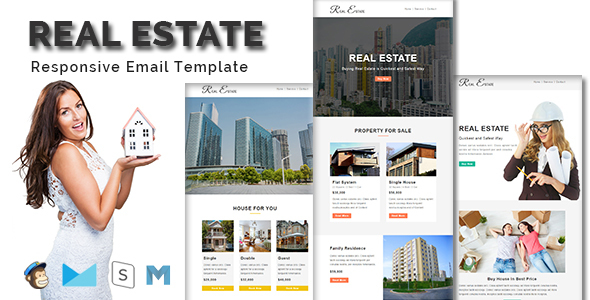 REAL ESTATE - Multipurpose Responsive Email Template With Stamp Ready Builder Access - Email Templates Marketing