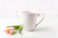 White coffee latte mug mockup with  pink tulip - PhotoDune Item for Sale