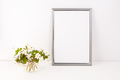 Silver frame mockup with Rue Anemone flowers - PhotoDune Item for Sale