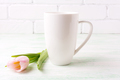 White coffee cappuccino mug mockup with  pink tulip - PhotoDune Item for Sale