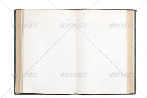 Old open book with blank pages isolated - Stock Photo - Images