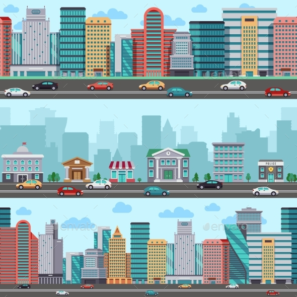 City Street with Cars and Buildings. Vector - Buildings Objects