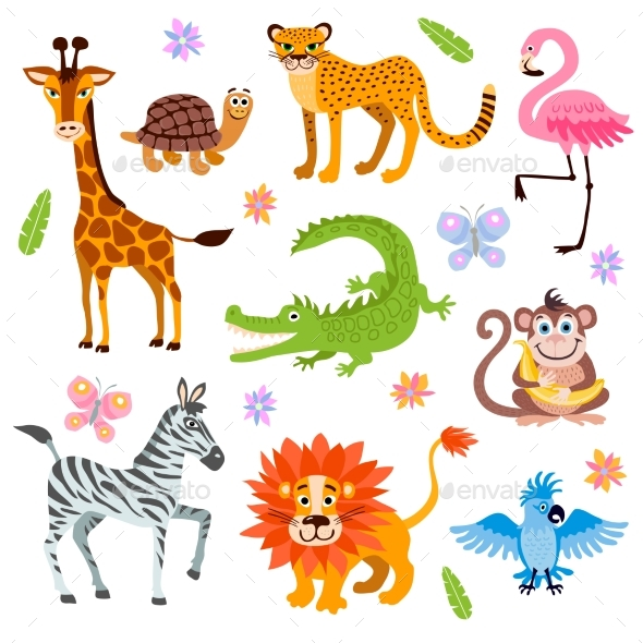 Jungle and Safari Animals Vector Set for Kids - Characters Vectors