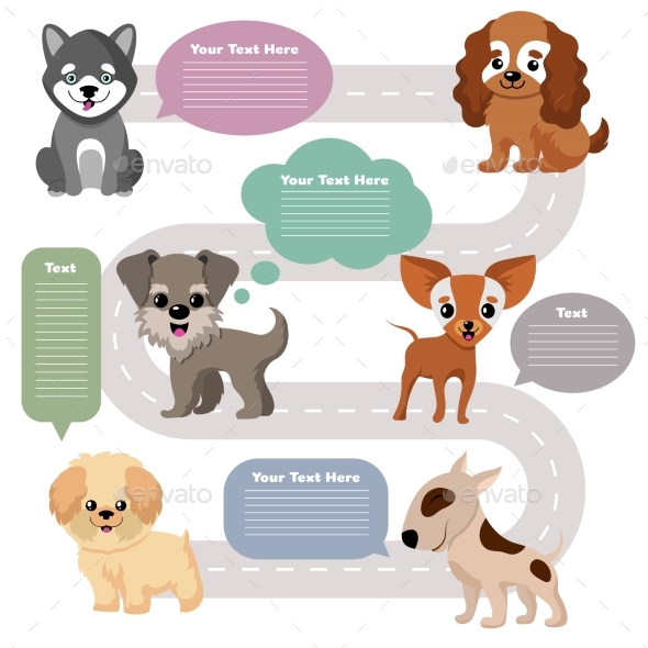 Funny Cartoon Puppy Pet Dogs with Speech Bubbles - Characters Vectors