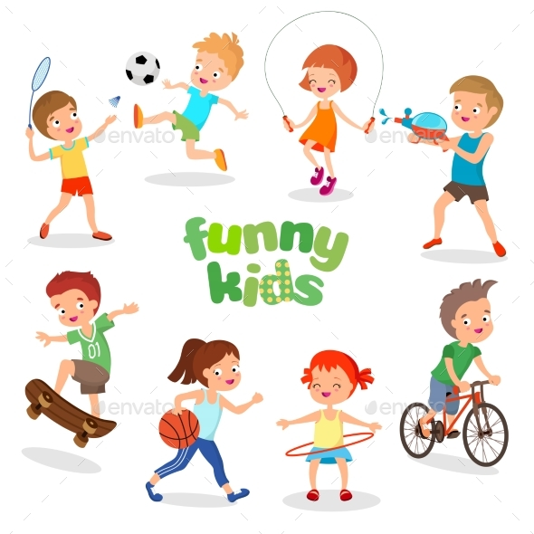 Uniformed Happy Kids Playing Sports. Active - People Characters