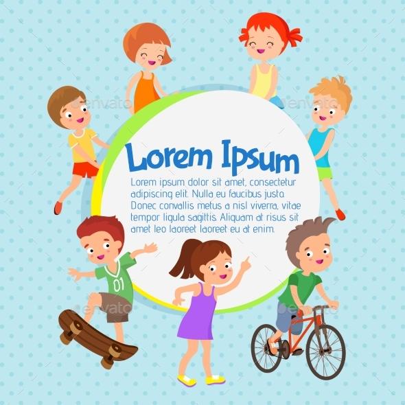 Cartoon Vector Kids Poster. Fun Children - People Characters