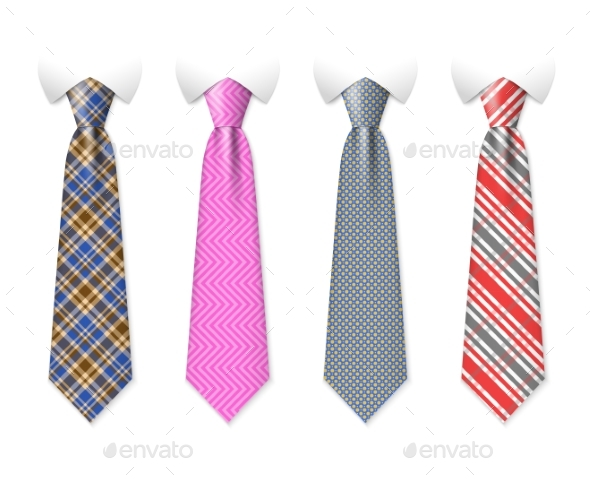 Neck Ties Vector Templates with Plaid Texture - Objects Vectors