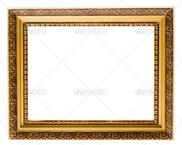 Empty gold plated wooden picture frame isolated - Stock Photo - Images