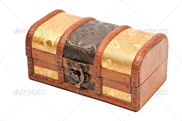Wooden jewellery box isolated - Stock Photo - Images