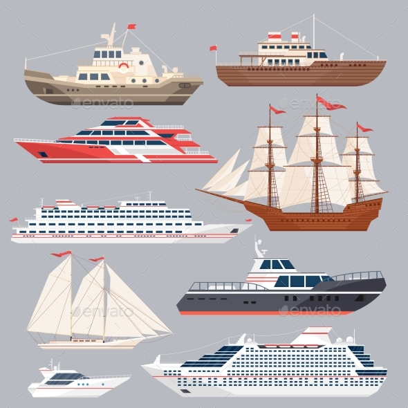 Set of Different Vessels. Sea Boats and Other Big - Miscellaneous Vectors