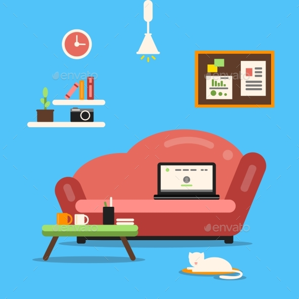 Home Office or Freelancer Interior with Sofa - Objects Vectors