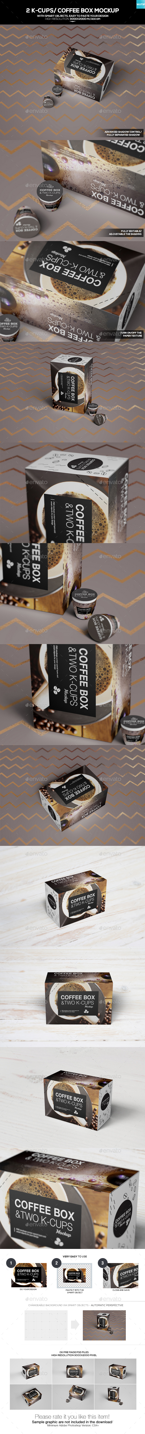2 K-Cups/ Coffee Box Mockup - Food and Drink Packaging