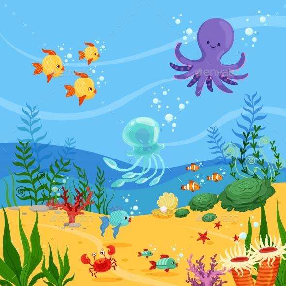 Underwater Background Illustration with Ocean - Miscellaneous Vectors