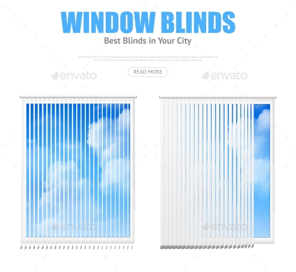 Two Windows With Blinds Overlooking Cloudy Sky - Objects Vectors