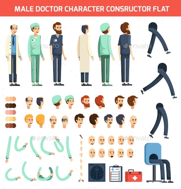 Male Doctor Character Constructor Flat - Health/Medicine Conceptual