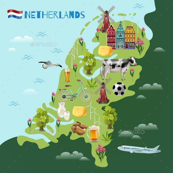 Holland  Cultural Travel Map Poster - Buildings Objects