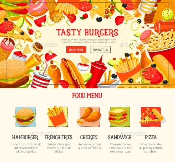 Fast Food Restaurant Lunch Menu Web Banner Design - Food Objects