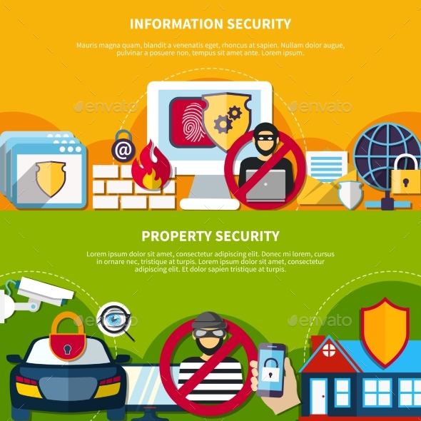 Security And Safety Banners Set - Miscellaneous Vectors