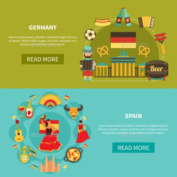 Germany Spain Banners Set - Food Objects