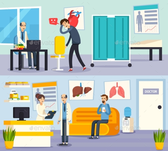 Male Doctor Character Flat Compositions - Health/Medicine Conceptual