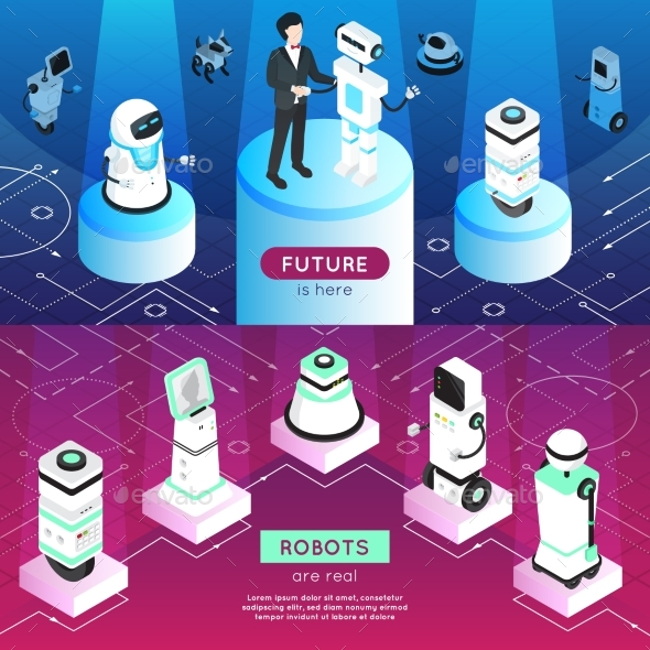 Robots Horizontal Isometric Banners - Business Conceptual