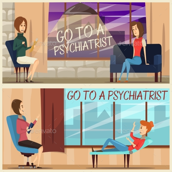 Visit To Psychiatrist Flat Banners - Health/Medicine Conceptual
