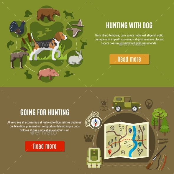 Hunting Banners Set - Sports/Activity Conceptual