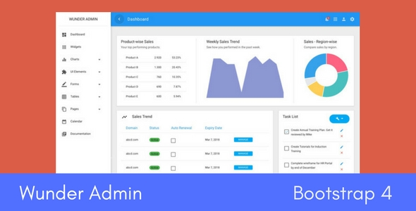 wunder bootstrap 4 material admin template by urbanui themeforest. Black Bedroom Furniture Sets. Home Design Ideas