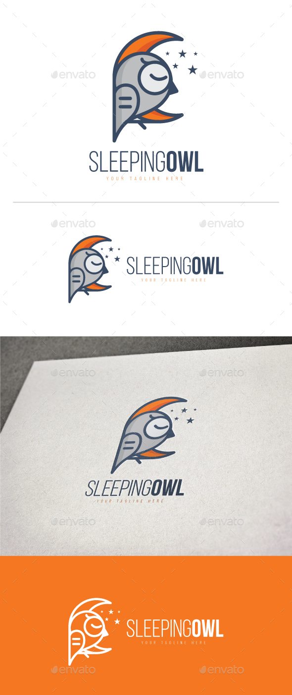Sleeping Owl Logo - Animals Logo Templates