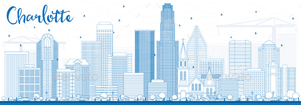 Outline Charlotte Skyline with Blue Buildings. - Buildings Objects