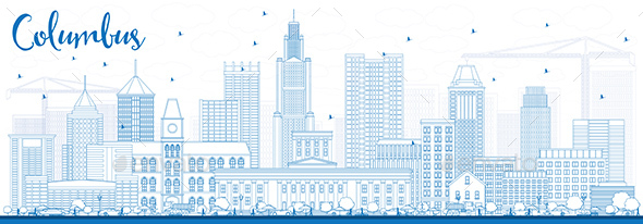 Outline Columbus Skyline with Blue Buildings - Buildings Objects