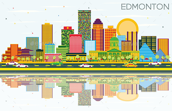 Edmonton Skyline with Color Buildings, Blue Sky and Reflections - Buildings Objects
