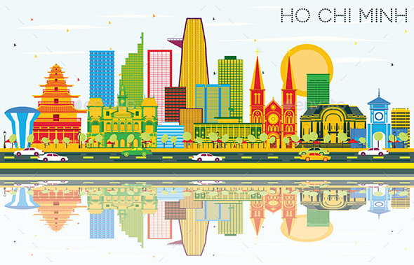 Ho Chi Minh Skyline with Color Buildings, Blue Sky and Reflections. - Buildings Objects
