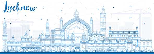 Outline Lucknow Skyline with Blue Buildings - Buildings Objects