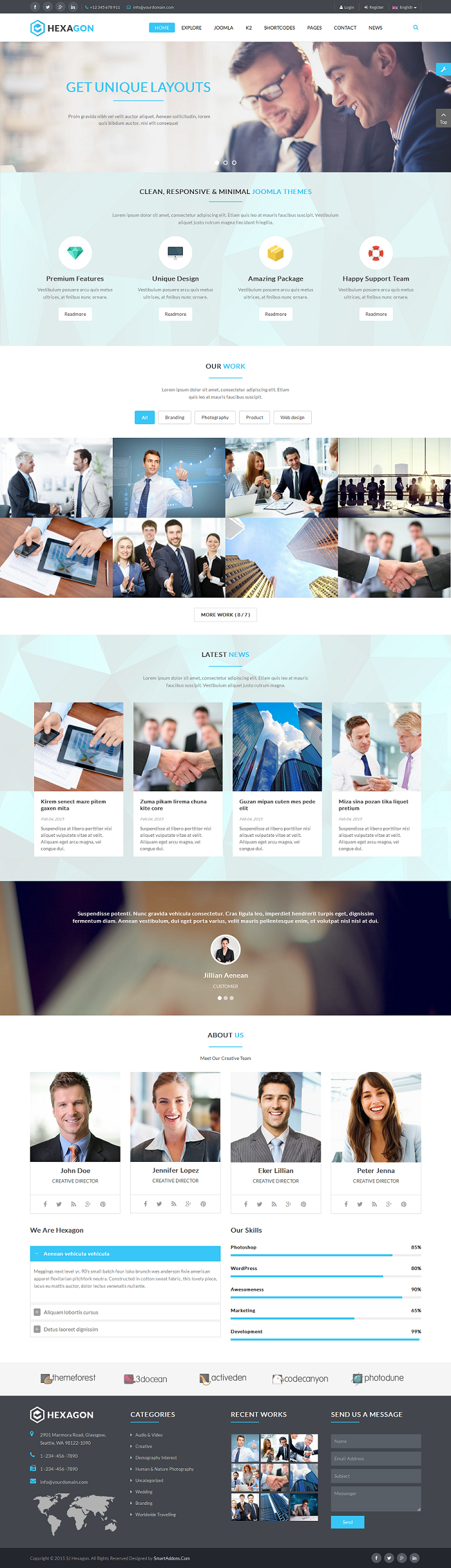 Hexagon responsive multipurpose business joomla template for Joomla templates with sample data