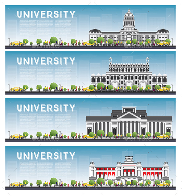 Set of University Study Banners - Buildings Objects