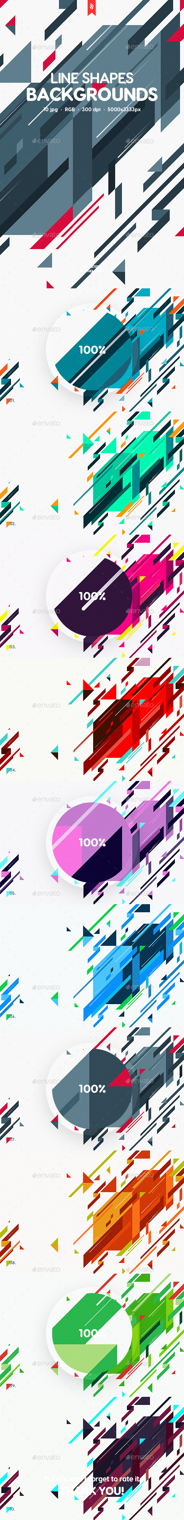 Abstract Flat Line Shapes Backgrounds - Patterns Backgrounds