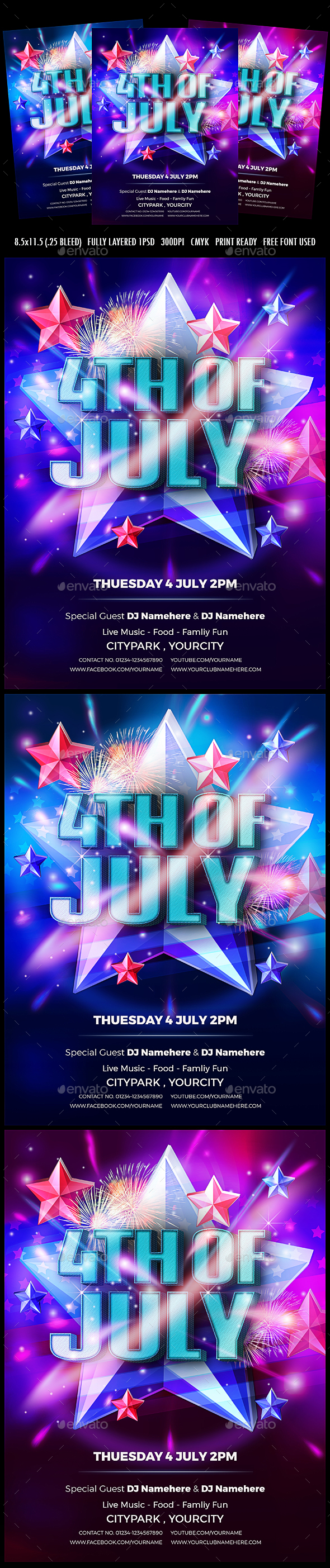 4th of July flyer V1 - Clubs & Parties Events