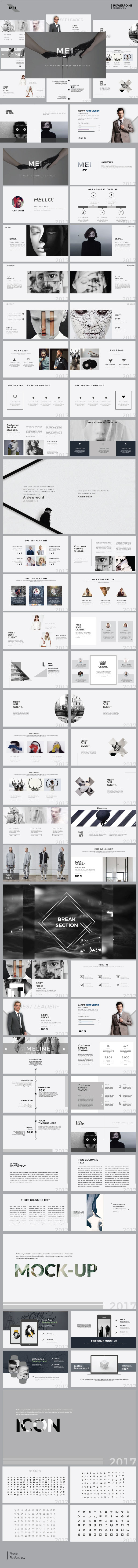 Mei - Minimal Multipurpose Powerpoint Template - Presentation Templates