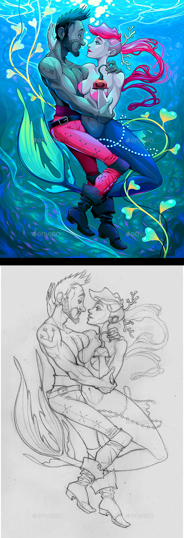 Mermaid with Pirate Under the Water - People Characters
