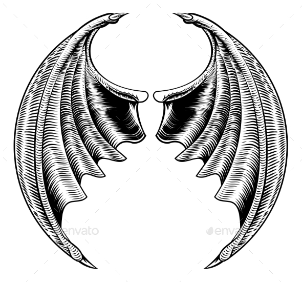 Bat or Dragon Wings Design - Animals Characters